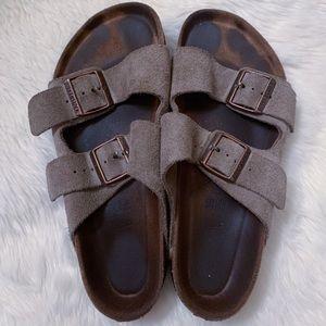Birkenstock Arizona Suede 2 Strap Olive Sandals 9